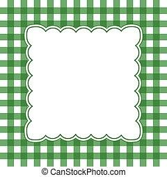 green and white gingham frame