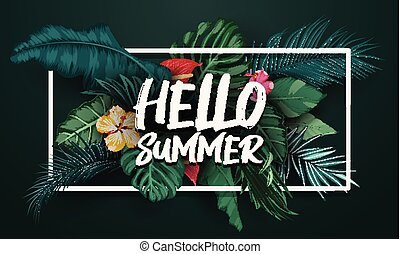 Hello summer leaves with frame background