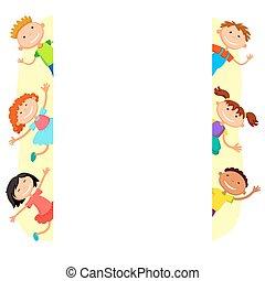 illustration of kids peeping behind placard