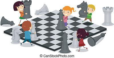 Illustration of Kids Playing Chess