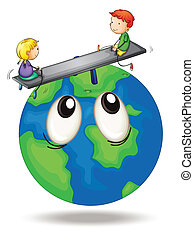kids playing on earth