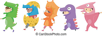 Illustration of Kids Wearing Dinosaur Costumes