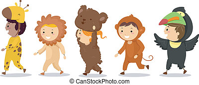 Illustration of Little Kids in their Animal Costumes