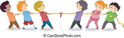 Illustration of Little Kids playing Tug of War