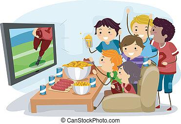 Illustration of Male Teens Watching Football on TV
