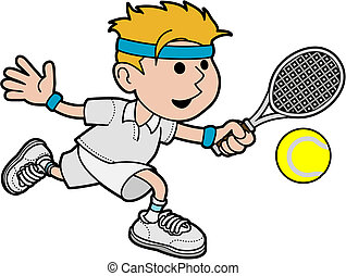 Illustration of male tennis player hitting ball with tennis racket