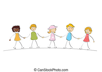 illustration of multi racial kids holding hands on isolated background