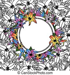 Lily Flower Round Frame