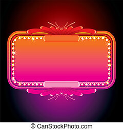 Illustration of Pink Retro Marquee. Vector Image
