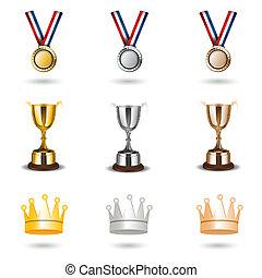 illustration of reward icons on white background