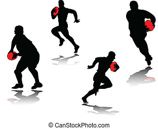 illustration of rugby player with shadow - vector