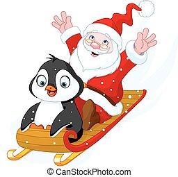 Santa Claus and Penguin