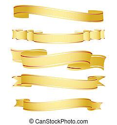 illustration of shapes of ribbon on white background