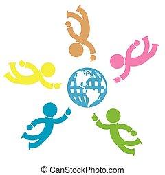 Illustration of Symbolic People and Earth Globe