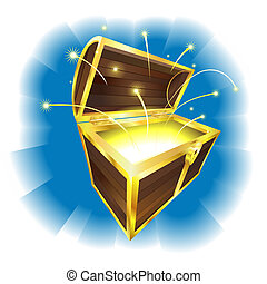 Illustration of treasure chest with magic sparks flying
