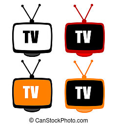 illustration of tv icons on white background