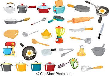 illustration of various utensils on a white