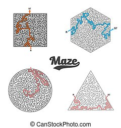 Vector Maze Set Isolated. Labyrinth Game Puzzle
