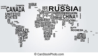 illustration of world map with country name