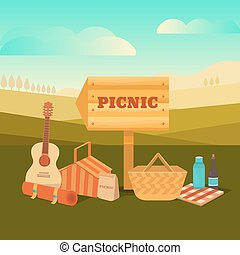 Illustration picnic outdoors