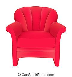 illustration red velvet easy chair on white background