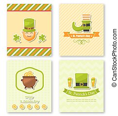 Set Greeting Posters with Traditional Symbols for St. Patricks D
