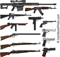 Illustration set of different guns in vector.