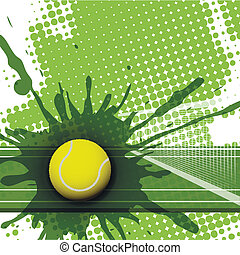 illustration, tennis ball on abstract green background