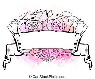 Illustration with curled ribbon, heart of roses and pink watercolor splashes. Template with place for text.