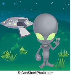 a little alien and his flying saucer
