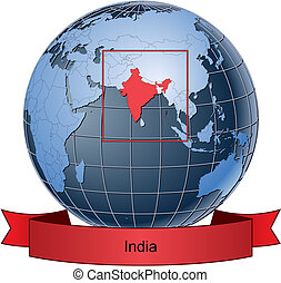 India, position on the globe Vector version with separate layers for globe, grid, land, borders, state, frame; fully editable