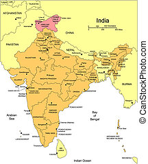 India, editable vector map broken down by administrative districts includes surrounding countries, in color with cities, district names and capitals, all objects editable. Great for building sales and marketing territory maps, illustrations, web graphics and graphic design. Includes sections of ...