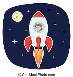 Indian businesswoman rocket in space near moon