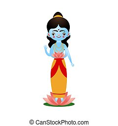 Indian hindu goddess with lotus flower near feet vector illustration