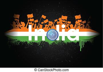 illustration of Indian citizen waving flag on tricolor flag