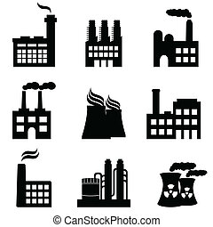 Industrial buildings, factories and power plants icon set