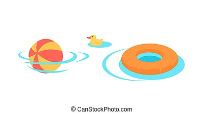 Inflatable Toys For Swimming In The Pool Vector.