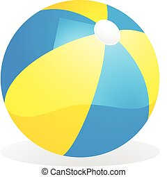 yellow and blue beach ball