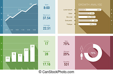 Infographics vector flat design. Financial Business report.