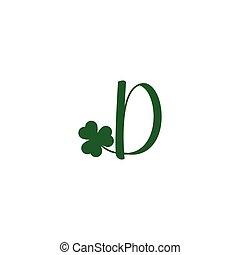 initial letter d Shamrock leaf