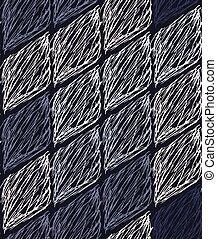 Inked strokes in diamond shape on blue