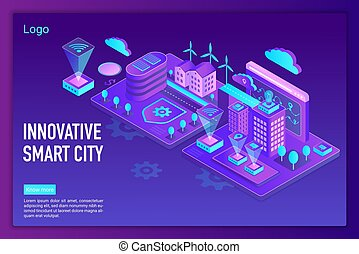 Innovative smart city landing page vector template
