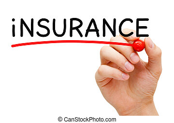Hand underlining Insurance with red marker on transparent wipe board.