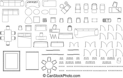 Interior signs. Furniture and lighting icons set, vector silhouettes for web