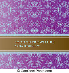 Invitation card with lace pattern and banner