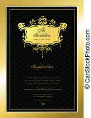 Invitation gold card. Wedding or V