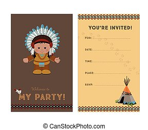 Invitation to party, American Indian chief