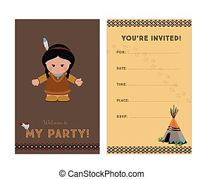 Invitation to party, American Indian girl