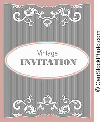 Invitation vintage card. Wedding or
