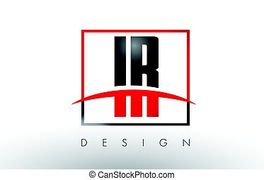 IR I R Logo Letters with Red and Black Colors and Swoosh. Creative Letter Design Vector.